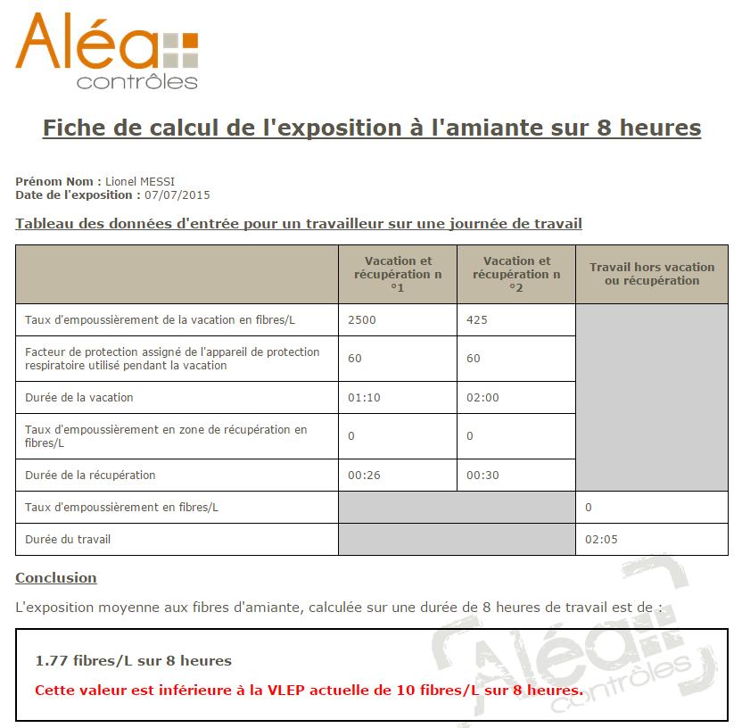 Calculette Aléa Contrôles VLEP Amiante